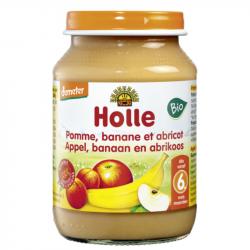 Holle - Petit pot pour bébé pomme banane et abricot bio 190 G