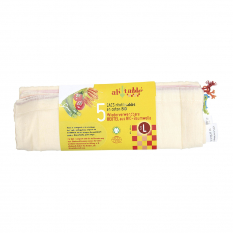 Sacs à céréales et légumes L en coton bio 5pcs