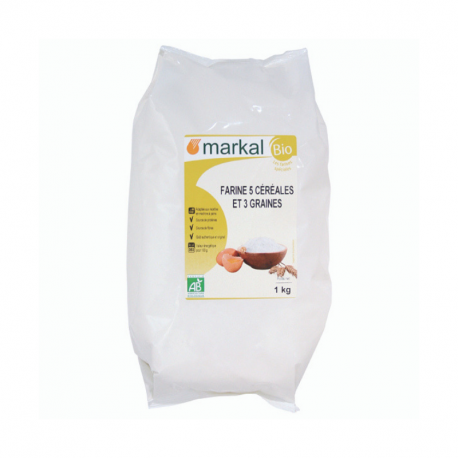 Markal - FARINE 5 céréales et 3 graines BIO 1KG