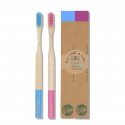 Brosse à dents en bambou Duo Bleu & Rose