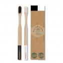 Brosse à dents en bambou Duo Noir & Blanc