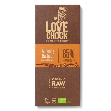 Lovechock - Dark chocolate bar, almonds and figs organic and raw 40gr