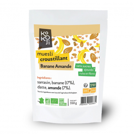 Kokoji - Muesli Croustillant Banane Amande SANS SUCRES AJOUTES 350g