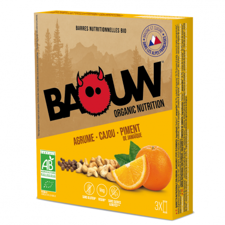 Barre Agrume-Cajou-Piment de Jamaïque Bio 25g