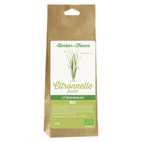 Leaves of citronella - Organic - L'herbier de France - 40g