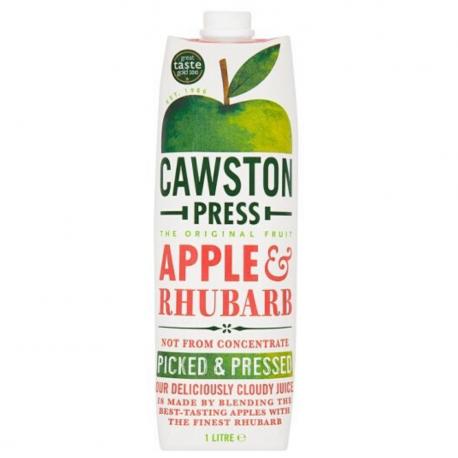 Cawston appelsap met rabarber -zonder toegevoegde suikers.