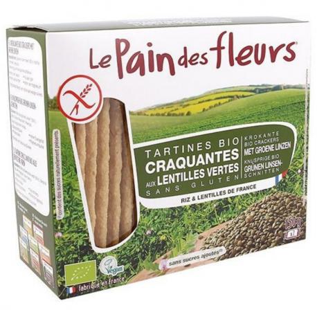 PAIN DES FLEURS Crackers met groen linzen biologisch 150g