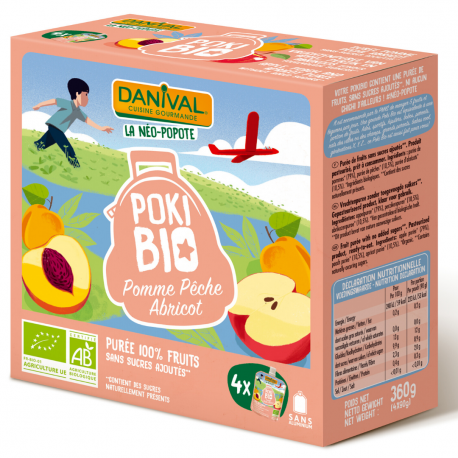 Danival Poki Appel-Perzik-Abrikoos 4x90g,Compote en yoghurt