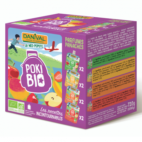 Danival Poki Pakket Mix 8x90g,Compote en yoghurt