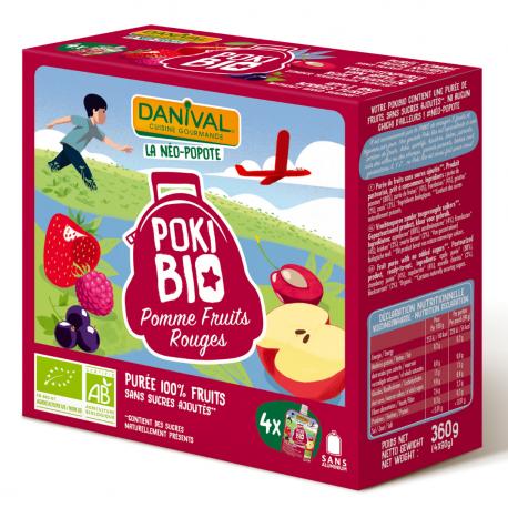 Danival Poki Appel-Rood fruit 4x90g,Compote en yoghurt