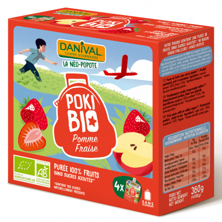 Danival Poki Pomme Fraise 4x90g, Danival, Compotes et yaourts