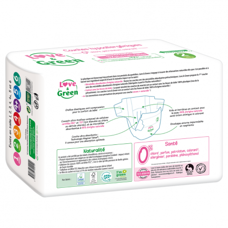 Love&Green - Couches hypoallergéniques T2 (de 3 à 6 kg)