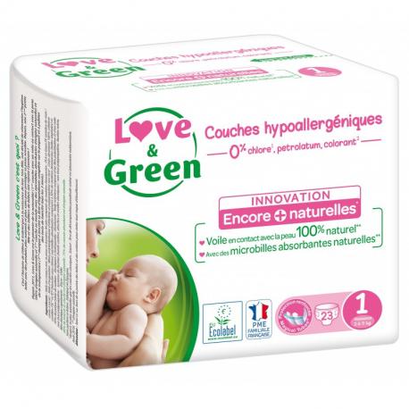 Love&Green - Hypoallergene Luiers T1 (pasgeborenen 2 tot 5 kg) 23-pack