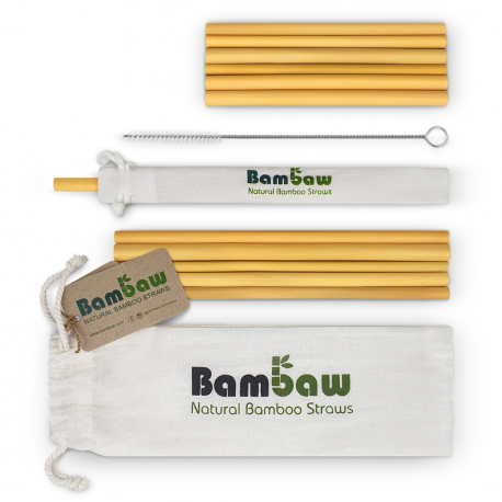 Bambaw - Pack 12 bamboo straws mixed (6 straws of 14 cm and 6 straws of 22cm)
