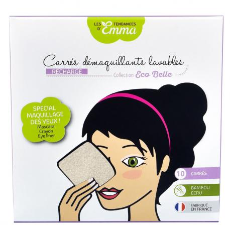 Les Tendances D'Emma - REFILLS 10 SQUARE MAKEUP REMOVERS - Unbleached Bamboo