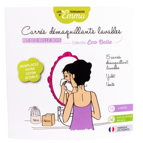 Les Tendances d'Emma - Wasbare Vierkantige Ontschminkers - Bio Katon Biface - 15carrés