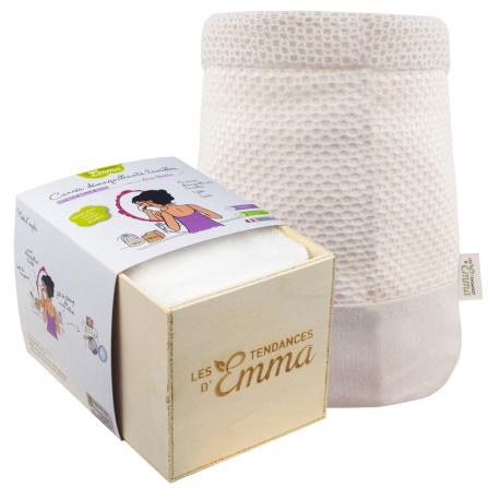 Les Tendances d'Emma - Carrés démaquillants lavables - Coton Bio Biface - 15carrés