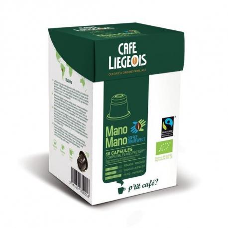 Café Capsules Mano Mano Espresso (bio et équitable) x10, Café