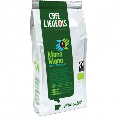 Café Moulu Mano Mano (bio et équitable) 250g, Café Liégeois,