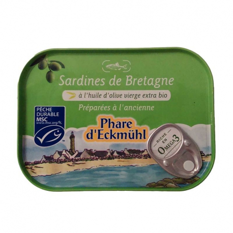 Sardines de Bretagne à l'huile d'olive 115g, Phare d'Eckmuhl,