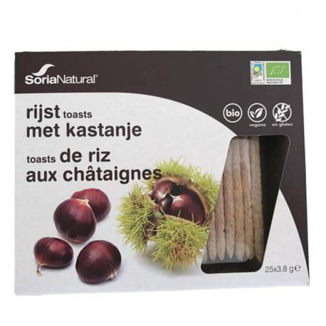 Toast de riz aux châtaignes (sans gluten bio) 25x3,8g, SORIA,