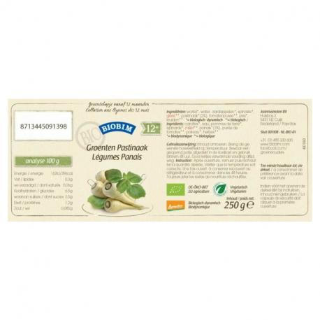 Purée de légumes et panais bio dès 12 mois 250g