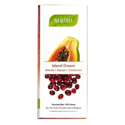 Tablette chocolat acérola, papaye & canneberges 72% (80g) Bio Newtree
