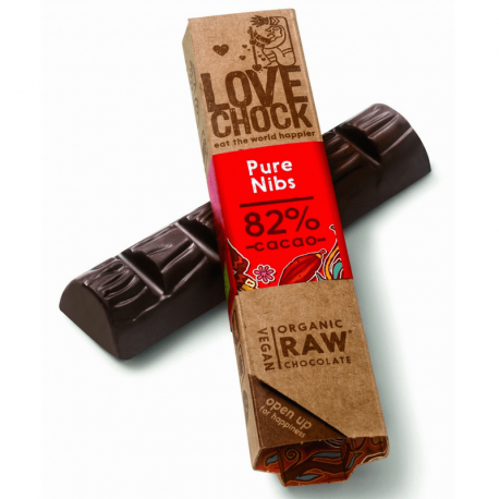 Lovechock - Chocolat noir éclats de cacao 82% bio et cru 40gr