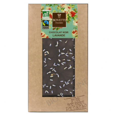 Chocolat noir BIO Fleur de Lavande 100g - BOVETTI Chocolatier