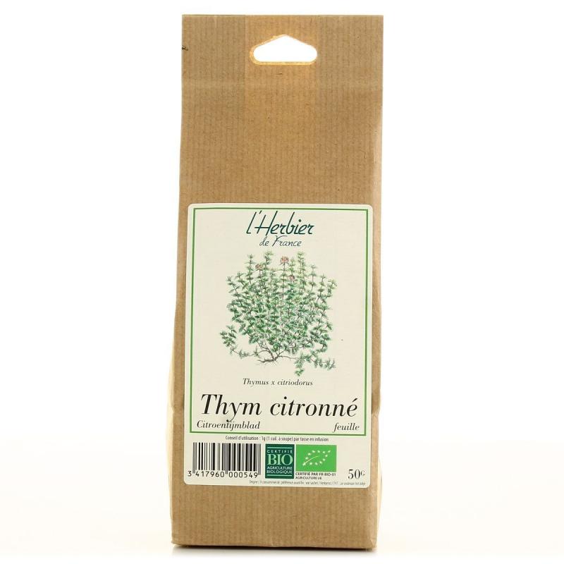 feuilles de thym citronn bio l 39 herbier de france 50g. Black Bedroom Furniture Sets. Home Design Ideas