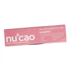 NUCAO - Organic Bar Hemp Seeds & Raw Cacao - Barberry 40g
