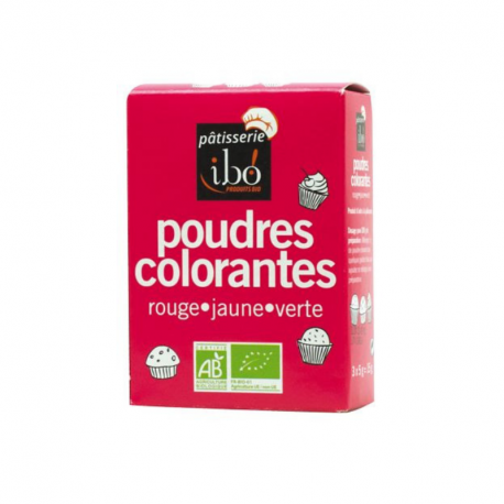 Ibo - Poudres Colorantes rouge/jaune/vert 3x5gr