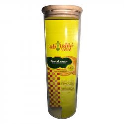 Bocal verre couvercle bois1,8 L diam : 96mm, ht : 290mm