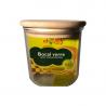 Bocal verre couvercle bois 0,5 L diam : 95mm, ht :95mm