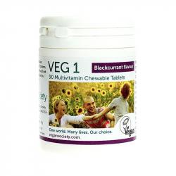 Veg 1 - 90 comprimés saveur cassis - The Vegan Society