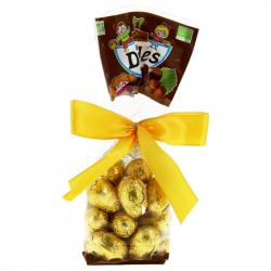 Saveurs & Nature - Œufs Praliné  enrobés de chocolat noir 55% cacao 150g