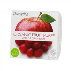 Clearspring - Compote Pomme Canneberge (sans sucre ajouté) BIO 2x100g